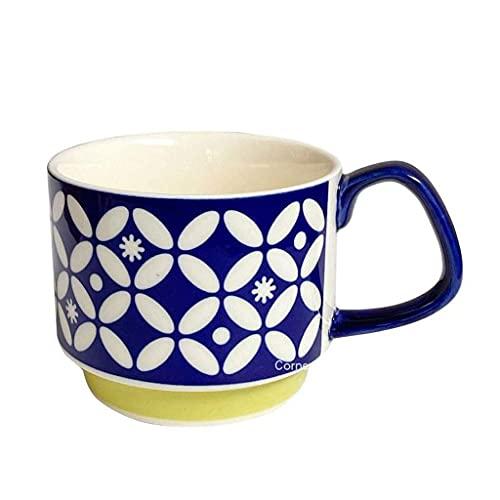 n.g. Wohnzimmerzubehör 300ml Japanische Stapelbare Tassen Keramik Vintage Home Table Decor Blume Orange Geometr Muster Tassen für Kaffee Tee Milch Wasser Geschenk (Color : D)