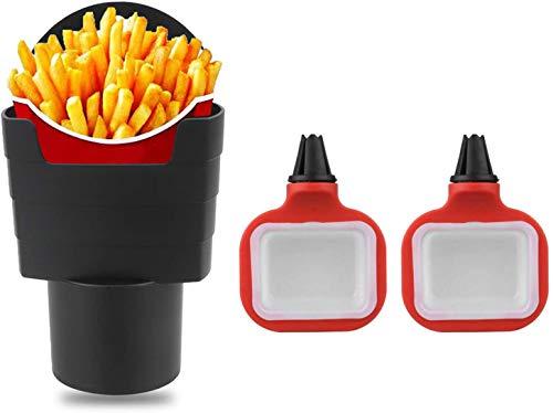 Hioph 3 Stück Pommes Frry Becherhalter Auto Innenraum Zubehör Chips Auto Mini Dipping Tassen Sauce Cup Holder Dip Clip Sets