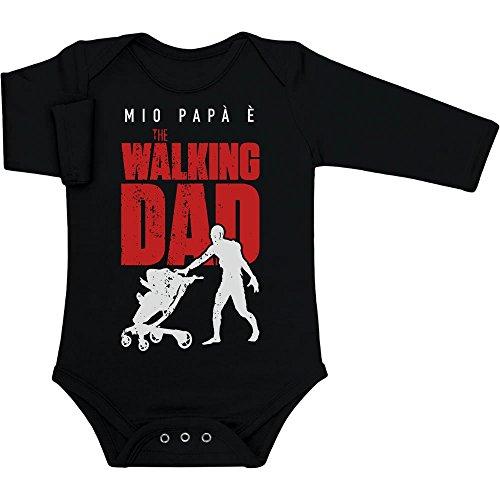 Shirtgeil Mio papà è The Walking Dad - Regalo per Fan Serie TV Body Neonato Manica Lunga 3-6 Mesi Nero
