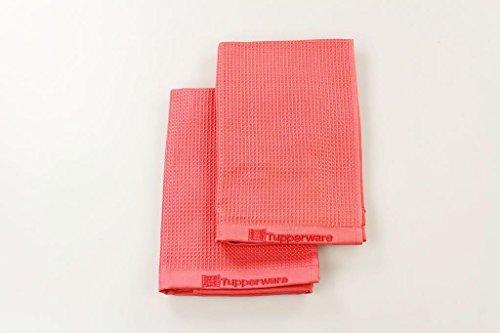 TUPPERWARE 16904 FaserPro Lot de 2 chiffons en microfibre pour surfaces vitrées T22, rouge