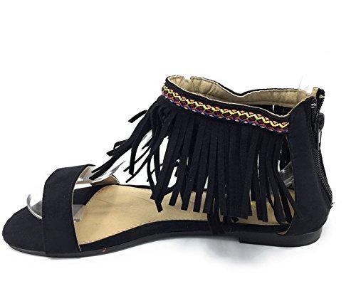 Sandalias Planas con Flecos y Muy comodas (Negro)