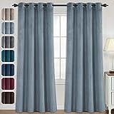 Velvet Curtains for Bedroom-Velvet Curtains 95 Inches Room Darkening Super Soft Luxury Velvet Textured Drapes Thermal Insulated Grommet Panels for Living Room(2 Panels, 52 x 95 Inch, Stone Blue)