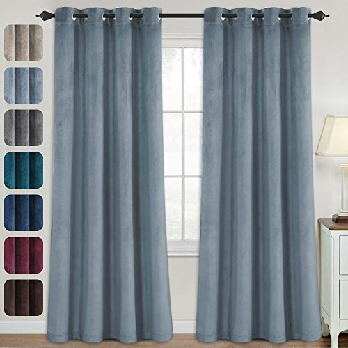 Velvet Curtains for Bedroom-Velvet Curtains 95 Inches Room Darkening Super Soft Luxury Velvet Textured Drapes Thermal Insulated Grommet Panels for Living Room(2 Panels, 52 x 95 Inch, Stone Blue)