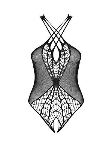 Selente Love & Fun - Conjunto de lencería de 2 Piezas para Mujer de Ouvert/Body & Exclusivo satén para Ojos, Negro de Red Abierta. S-L