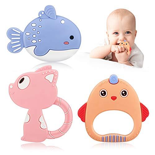 Juguetes de dentición para bebés, juguetes de mordedor para bebés de silicona natural Achort, anillo de mordedor para juguetes de dentición infantil, BPA gratis