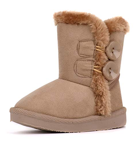 KDHAO Baby Kids Comfortable Casual Shoes Winter Girls Boys Lovely Hiking Snow Boots(Todder/Little Kid) (8 M US Toddler, Brown(New))