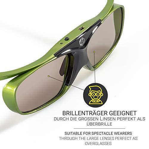 2x Hi-SHOCK DLP Pro Lime Heaven | DLP Link 3D Aktive Brille für 3D DLP Beamer von Acer, BenQ, Optoma, Viewsonic | komp. mit PPA5610 / E4W [96-200 Hz | Akku | 32g | wiederaufladbar]