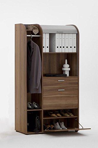 FMD Rolladenschrank mit Jalousie Aktenschrank Garderobe Büro Nussbaum