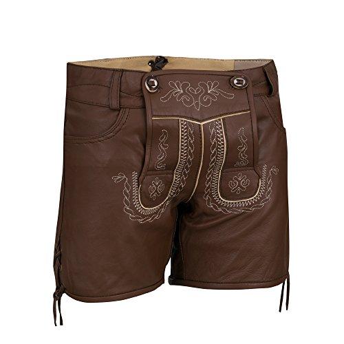 Preisvergleich Produktbild Almbock Trachten-Lederhose Damen Catalina Schoko-braun in Gr. 34 36 38 40 - extra Kurze Nappa-Lederhose mit Stickereien am Latz
