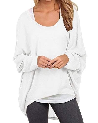 Yidarton Frauen Asymmetrisch Langarm Pullover Pulli Strickjacke Oversized Baggy Lose Jumper T-Shirt Tops Bluse (L, Z-Weiß)