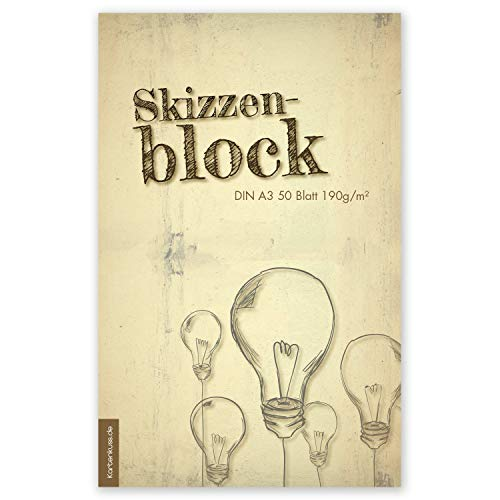 Zeichenblock | 50 Blatt | Malblock, Skizzenblock im DIN A3 Format | 190g/m² | Malblock zum malen und zeichnen mit