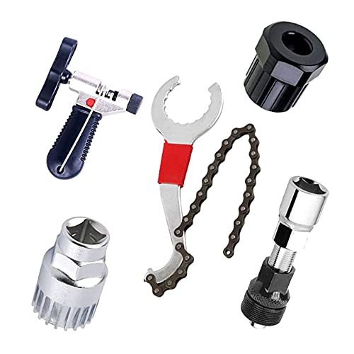 Kits De Herramientas De Reparación Universales De Bicicleta, 5 Piezas, Cadena 3 En 1 De Bicicleta/Rueda Libre/Soporte Inferior/Extractor De Manivela, Interruptor De Cadena De Bicicleta,Set