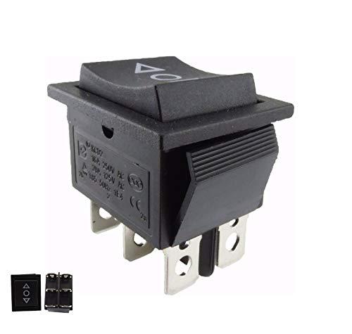 Interruptor basculante; pulsador ON/OFF/ON, abertura empotrada de aprox. 28,5 x 21,5 mm, color negro, también utilizable como reemplazo del cortacésped