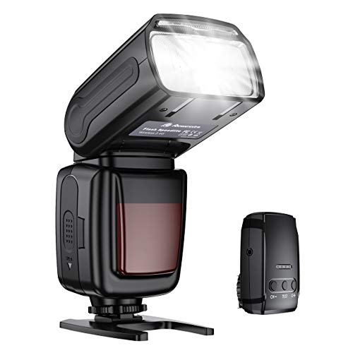 Powerextra Flash Speedlite, 2.4G Wireless Flash Trigger Transmitter Kit for Canon Nikon Panasonic Olympus Pentax and Sony DSLR Camera, Digital Cameras with Standard Hot Shoe