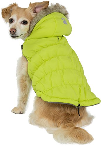 Friends Forever Green Quilted Vest Cozy Waterproof Windproof Winter Jacket Coat Sweater Hoodie Furry Collar Citron Harness Pet Puppy Dog Christmas Clothes Costume Outwear Coat Apparel Cat (Large)