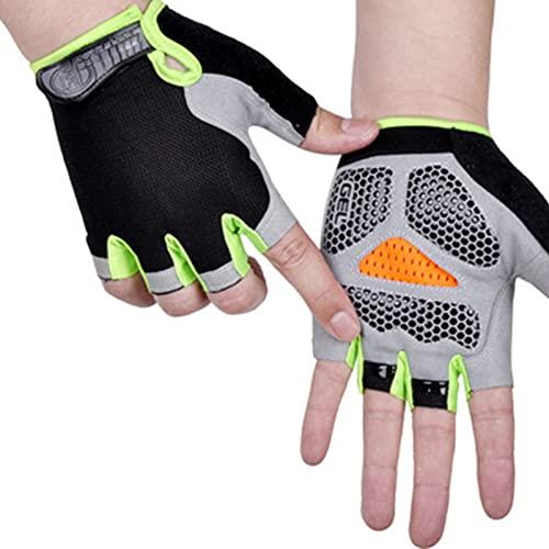 Kaijia Guantes de medio dedo protector solar antideslizante transpirable para hombres mujeres al aire libre Ciclismo deportes