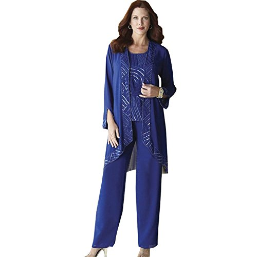 Dressvip Tuta girocollo Squins Madre della Sposa 3 Peices of Chiffon Abiti con Maniche Lunghe Cappotto Plus Size Blu scuro 54