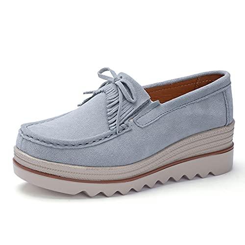 Zapatos de Plataforma de cuña deslizantes para Mujer, Zapatillas de Deporte Casuales duraderas, Zapatos Gruesos Retro de Primavera y otoño al Aire Libre, Creepers de Oficina de Cuero