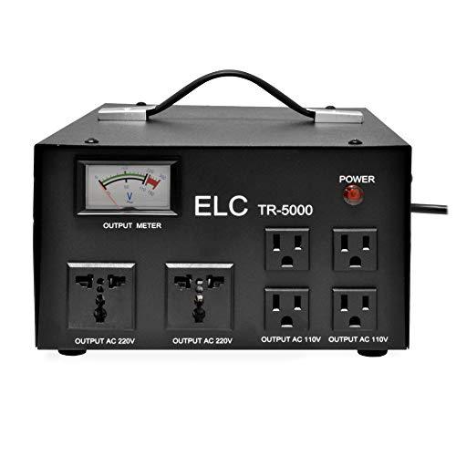 ELC Convertidor de transformador de voltaje de 5000 W con regulador integrado, paso arriba/abajo, 110 V/220 V, protección contra interruptores de circuito