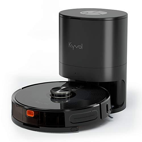 KYVOL 2 en 1 Aspirateur Robot Laveur avec 4.3L Station d'Auto-Vidage, 360° Navigation Laser avec Cartographie, 3000Pa, Autonomie de 240min, Barrières Virtuelles, Programmation, 2.4Ghz Wi-Fi, S31
