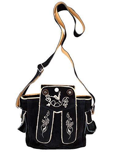 Trachtentasche Dirndltasche Lederhosen-Tasche Umhängetasche Wild-Leder schwarz