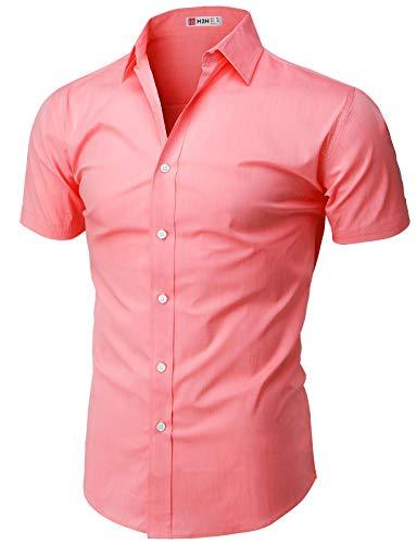 H2H Herren-Hemd, einfarbig, kurzärmelig, Knopfleiste, Lachsfarben, Größe XL (KMTSTS0132)