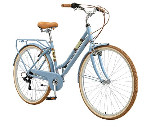 BIKESTAR Alu City Stadt Fahrrad 28 Zoll | 18 Zoll Rahmen, 7 Gang Shimano Damen Rad, Hollandrad Retro Bike mit V-Bremse und Gepäckträger | Blau | Risikofrei Testen