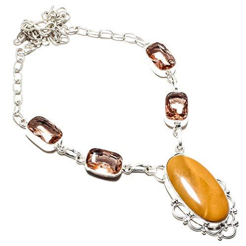 jewels paradise Awesome Yellow Agate & Morganite Gemstone Collana fatta a mano in argento Sterling 925 placcato gioielli - Collana a catena - (SF-1367)