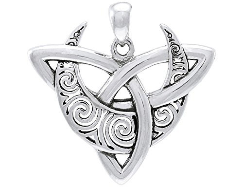 Jewelry Trends Celtic Triquetra Moon Goddess Trinity Knot Sterling Silver Pendant