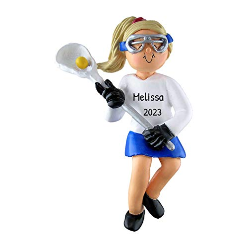 Personalized Lacrosse Girl Christmas Tree Ornament 2021 - Blonde Woman Athlete with Stick Ball Coach Hobby High School Catcher Shooter Profession - Free Customization (Yellow Hair)