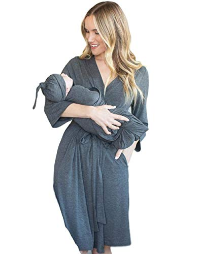 Baby Be Mine Maternity Labor Delivery Matching Robe and Swaddle Blanket and Hat Set, Hospital Bag Must Have (S/M 0-10, Dark Heather Grey)