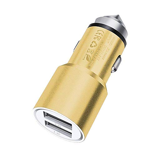 Gold Dual USB Port Aluminium Car Charger Bullet Adaptor Compatible with Lenovo K6 Enjoy