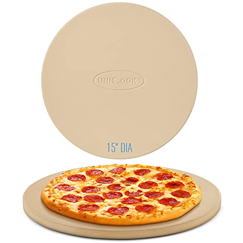 Unicook Pizza Stone for Grill Oven, 15 Inch Round Baking Stone, Heavy Duty Cordierite Pizza Cooking Pan, Thermal Shock Resistant, Ideal for Making Crisp Crust Pizza, Bread and More, Includes Scraper