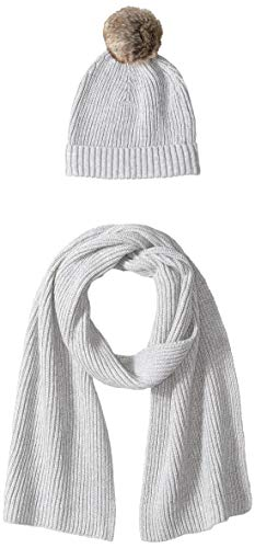 Amazon Essentials Women's Pom Knit Hat and Scarf Set, Light Grey Heather, One Size