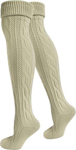 normani 2 Paar Oktoberfest Kniestrümpfe Trachten Socken EXTRA LANG aus Baumwolle Farbe Beige Größe 43/46