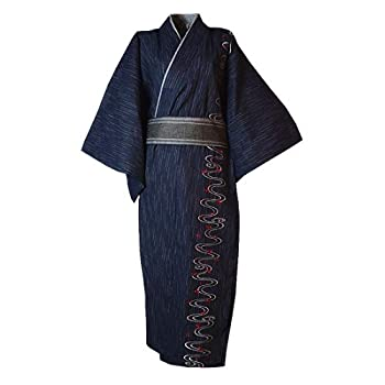 MAYSONG Men s Japanese Embroidery Kimono Home Robe Pajamas Dressing Gown  M  Navy Blue