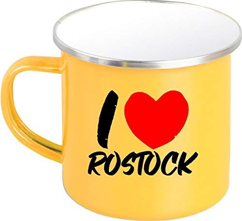 Shirtinstyle EMAILLE Kaffeepott Tasse I Love Rostock, Kaffeetasse Becher Retro Camping, Farbe Gelb