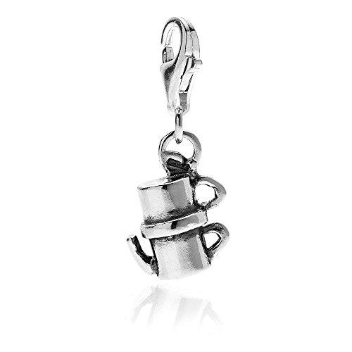 Gioielli DOP - Vintage Moka Kaffeemaschine Silber Anhänger - 925 Sterling Silber Charm mit Emaille - Handgefertigt in Italien - Anhänger mit Anti-Scratch Emaille - 2 Jahre Garantie