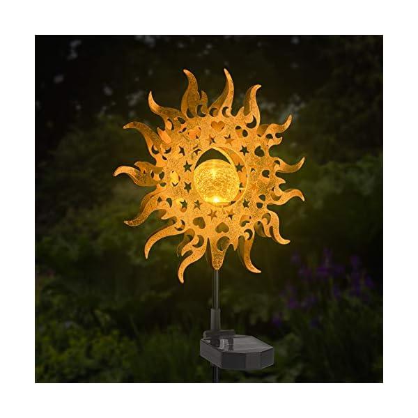 LANNIU Solar Lights Outdoor Garden, Metal Waterproof Solar Lights 2 Modes Sun Decorative Stakes for Landscape,Garden…