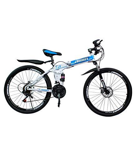 Grupo K-2 Wonduu Bicicleta Plegable de Montaña para Adulto | con 21 Velocidades y Rueda de 26' | Cuadro de Hierro Fundido Plegable y Freno de Disco | Azul