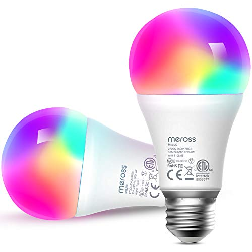 Bombilla LED Wifi Inteligente Multicolor - Luces Cálidas/Frías RGB, Lámpara Regulable, 60W Equivalente, E27, 2700-6500K, Compatible con Alexa,Google Home y SmartThings, Paquete de 2, meross
