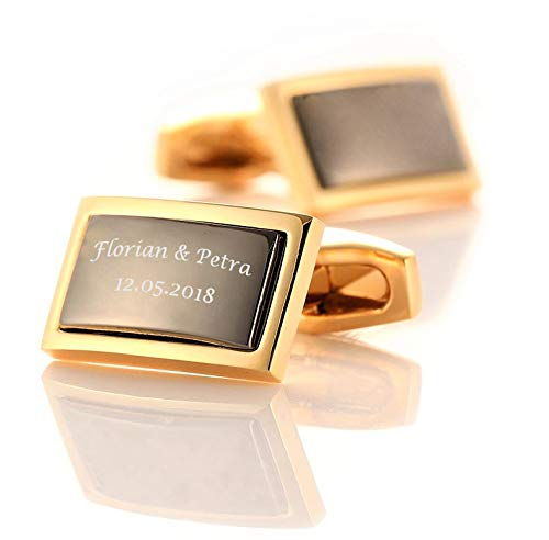 aplusashop ID Manschettenknöpfe Gold-schwarz mit Gravur nach Wunsch Edelstahl, Hochzeit mit Box (Mit Gravur)