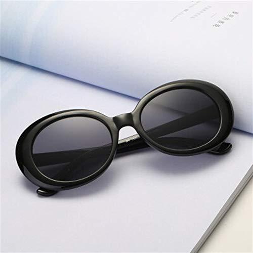 KANCK Sonnenbrille Sunglasses Sonnenbrillen Goggles Kurt Cobain Brille Männer Frauen Luxuxmarken Designer Oval Sonnenbrille Weiblich Männlich Nirvana Sun-Glas-UV400 for Fahrer (Color : Black)