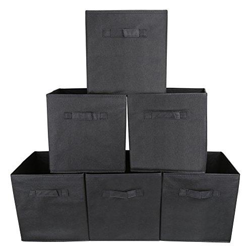 EZOWare 6er-Pack Aufbewahrungsbox Faltbare Aufbewahrungskiste Faltbox und Weichem Stoff in Würfelform - Schwarz