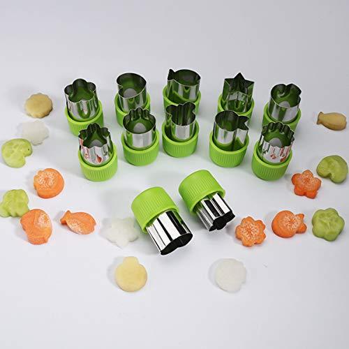 Cortador de galletas de acero inoxidable para verduras, frutas y adecuado para niños, juego de 12 piezas, mini molde de estampilla,