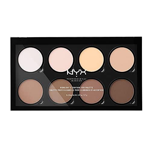 NYX PROFESSIONAL MAKEUP - Paleta de contouring Highlight and Contour Pro Palette, Kit de contouring en polvo, 8 tonos de acabado mate y brillante