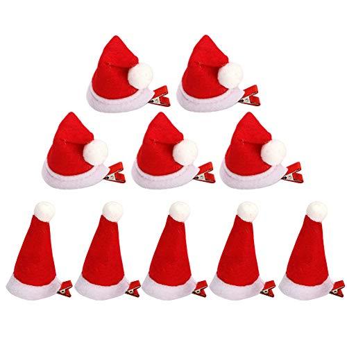 10 Stück Haarspangen für Weihnachten Weihnachts-Haarspangen Weihnachtsmütze Schleifen für Mädchen Haarschmuck Weihnachtsbaumsocken für Kinder und Erwachsene Rot