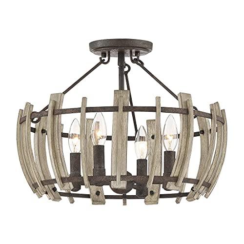Elstead Wood - Lámpara de techo semiempotrable (acabado rústico en negro QZ/WOODHOLLOW/SF)
