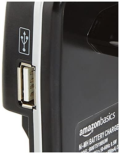 Panasonic eneloop, Ready-to-Use NI-MH Akku, AA Mignon, 4er Pack, Storage Case, min. 1900 mAh, 2100 Ladezyklen, Starke Leistung & Amazon Basics Batterieladegerät für NI-MH AA/AAA Akkus und USB Geräte
