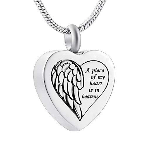 Colgantes para Cenizas Un Pedazo de mi corazón está en Sky Angel Wings Medallion Heart Fire Memorial Memorial Ash Urne Collar Joyería Souvenirs Colgante urna Cenizas Colgante Memorial